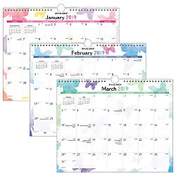 AT A GLANCE Watercolors Wall Calendar