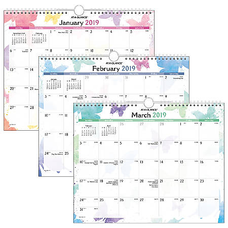 """AT-A-GLANCE® Watercolors Wall Calendar, 15"""" x 12"""", January to December 2019"""