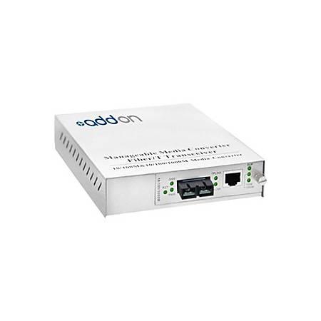 AddOn 10/100/1000Base-TX(RJ-45) to 1000Base-SX(SC) MMF 850nm 550m Managed Media Converter
