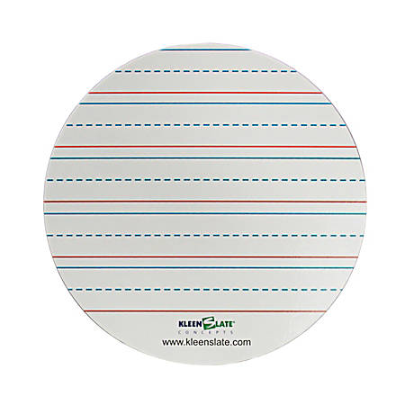 """Kleenslate Whiteboard Replacement Surfaces, 7"""" x 7"""", Handwriting Lines, Pack Of 8"""