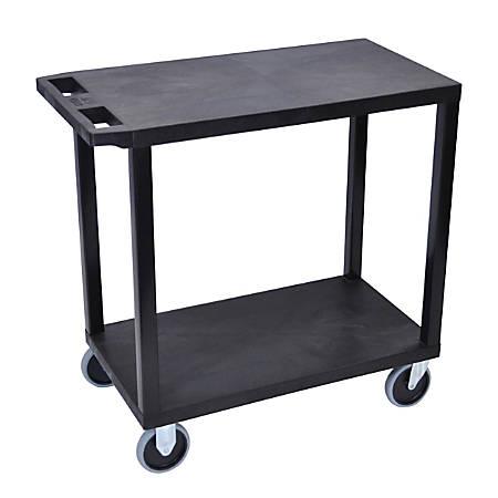 "Luxor E-Series Plastic Cart, 2-Shelves, Heavy-Duty, 36 1/4""H x 32""W x 18""D, Black"