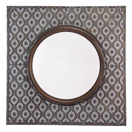 "Zuo Modern Plaque Square Mirror, 35 13/16""H x 35 13/16""W x 4 5/16""D, Antique"