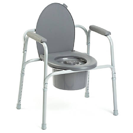 """Invacare® All-In-One Aluminum Commode, 36""""H x 24 1/4""""W x 18 1/4""""D, Gray"""