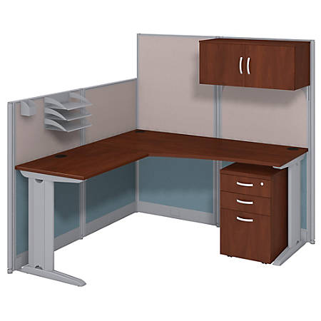 Bush Business Furniture Office In An Hour L Workstation with Storage & Accessory Kit, Hansen Cherry Finish, Premium Delivery