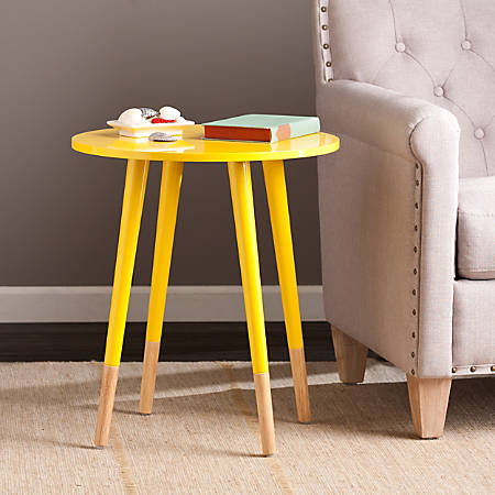 Southern Enterprises Laney Accent Table, Round, Yellow/Natural