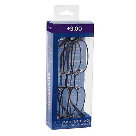 ICU Eyewear Rectangular Reading Glasses Set, Metal, +3.00, Pack Of 3