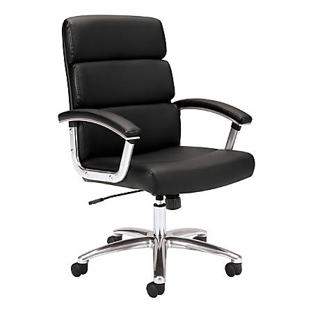 """basyx by HON® Executive Leather Adjustable Height Work Chair, 43 1/2""""H x 24 3/4""""W x 24""""D, Silver Frame, Black Leather"""