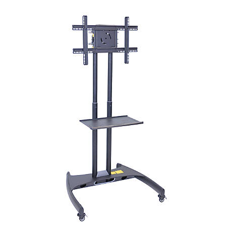 "H. Wilson FP2500 Series Flat-Panel Mobile TV Stand With Mount For TVs Up to 60"", 62 1/2""H x 32 3/4""W x 28 3/4""D, Black"