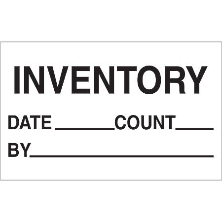 """Tape Logic® Preprinted Special Handling Labels, DL1181, Inventory/Date/Count/By, Rectangle, 1 1/4"""" x 2"""", Black/White, Roll Of 500"""
