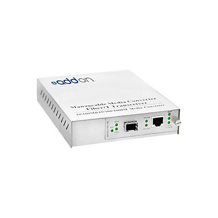AddOn 10/100/1000Base-TX(RJ-45) to Open SFP Port Managed Media Converter - 100% compatible and guaranteed to work