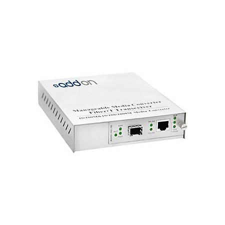 AddOn 10/100/1000Base-TX(RJ-45) to Open SFP Port Managed Media Converter