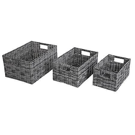 Realspace 3-Piece Storage Basket Set, Grey/Light Grey