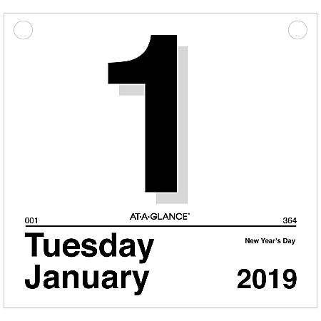 "AT-A-GLANCE® Today Is Daily Wall Calendar Refill, 8"" x 8 1/2"", January to December 2019"