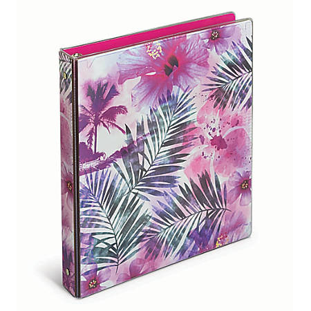 """Office Depot® Brand Fashion Binder, 1"""" Rings, Flowers And Palms"""