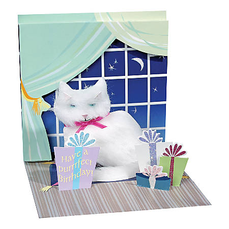 """Up With Paper Everyday Pop-Up Greeting Card, 5-1/4"""" x 5-1/4"""", White Persian Kitty"""