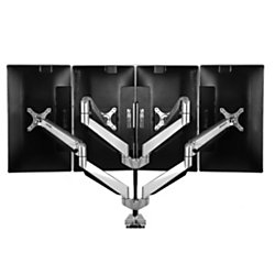 "Loctek D7 Gas-Spring Monitor Arm, Quad, 22 1/8""H x 17 5/16""W x 5 15/16""D, Silver"