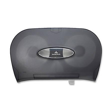 Georgia-Pacific Side-By-Side Bathroom Tissue Dispenser, Translucent Smoke