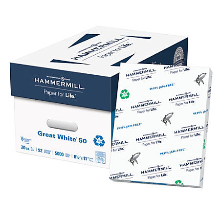 Hammermill® Great White® Copy Paper, Letter Size Paper, 20 Lb, 50% Recycled, 500 Sheets Per Ream, Case Of 10 Reams