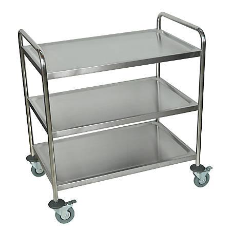 "Luxor ST-3 Stainless-Steel 3-Shelf Kitchen Cart, 37""H x 33 1/2""W x 21""D, Silver"