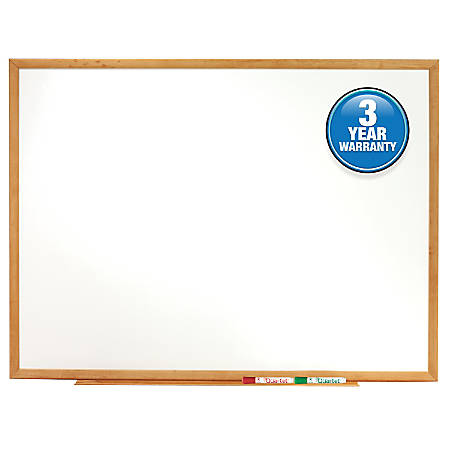 "Quartet® Classic Total Erase® Dry-Erase Board, 24"" x 36"", Oak Finish Frame"