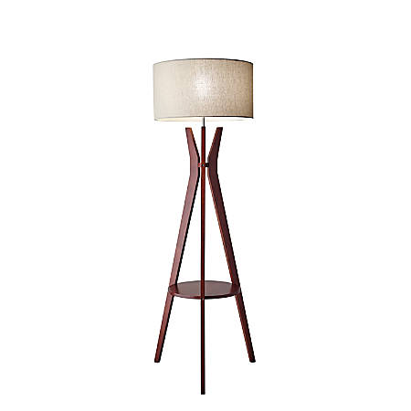 "Adesso® Bedford Shelf Floor Lamp, 59 1/2""H, Oatmeal Shade/Walnut Base"
