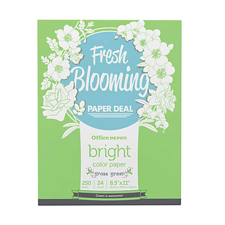 Office Depot® Brand Color Bright Copy Paper, Letter Paper Size, 24 Lb, Grass Green, 250 Sheets Per Ream