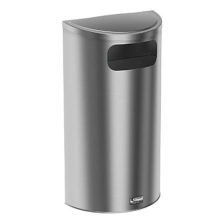 "Suncast Commercial Accent Series Decorative Crescent Metal Trash Can, 9 Gallons, 32-11/16""H x 18-1/8""W x 9-1/4""D, Stainless Steel"