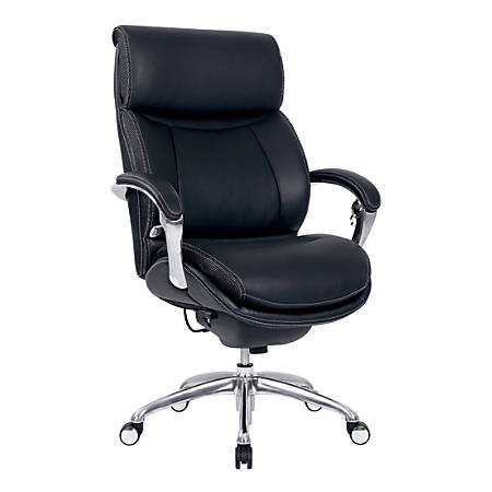 Serta® iComfort i5000 Bonded Leather Executive High-Back Chair, Onyx Black/Silver