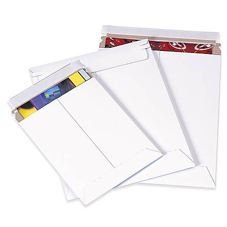 "Office Depot® Brand Self-Seal White Flat Mailers, 11"" x 13 1/2"", Box Of 100"