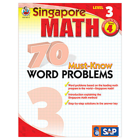 Carson-Dellosa Singapore Math 70 Must-Know Word Problems, Level 3, Grade 4