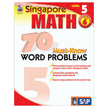 Carson-Dellosa Singapore Math 70 Must-Know Word Problems, Level 5, Grade 6