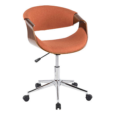 LumiSource Curvo Mid-Century Modern Mid-Back Chair, Orange/Walnut/Silver