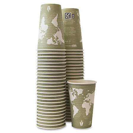 Eco-Products Renewable Resource Hot Drink Cups - 50 / Pack - 16 fl oz - 500 / Carton - Multi - Polylactic Acid (PLA), Resin, Paper, Biopolymer, Plastic - Hot Drink, Coffee
