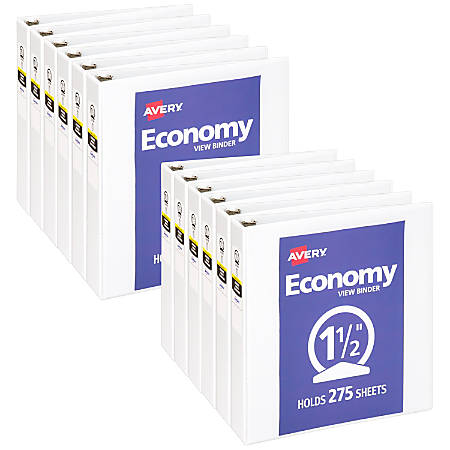 """Avery® Economy View Binders With Round Rings, 1-1/2"""" Rings, 37% Recycled, White, Case Of 12 Binders"""