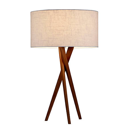 "Adesso® Brooklyn Table Lamp, 29 1/2""H, White Shade/Walnut Base"