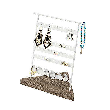 "Honey Can Do Earrings And Rings Jewelry Stand, 8"", White"