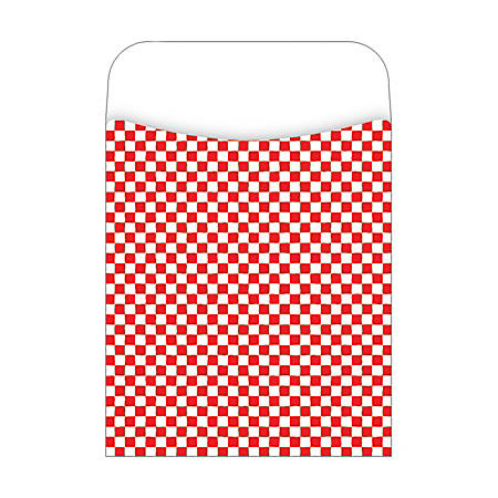 "Barker Creek Library Pockets, 3 1/2"" x 5 1/8"", Red Checks, Pack Of 30"