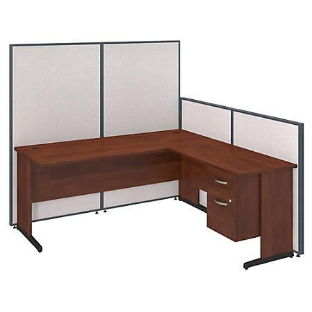 "Bush Business Furniture Components Elite 72""W C Leg L Shaped Desk With 3/4 Pedestal And ProPanels, Light Gray, Standard Delivery"