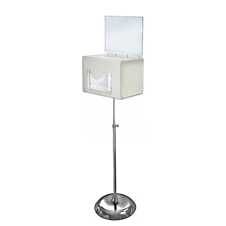 """Azar Displays Plastic Suggestion Box, Adjustable Pedestal Floor Stand, With Lock, Extra-Large, 8 1/4""""H x 11""""W x 8 1/4""""D, White"""