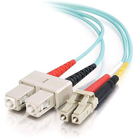C2G 10m LC-SC 10Gb 50/125 OM3 Duplex Multimode PVC Fiber Optic Cable (USA-Made) - Aqua - Fiber Optic for Network Device - LC Male - SC Male - 10Gb - 50/125 - Duplex Multimode - OM3 - 10GBase-SR, 10GBase-LRM - USA-Made - 10m - Aqua