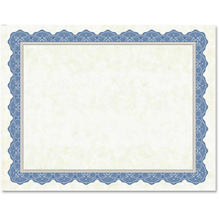 """Geographics Drama Blue Border Blank Certificates - 8.50"""" x 11"""" - Inkjet, Laser Compatible with Blue Border15 / Pack"""