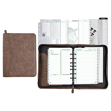 """Day-Timer® Distressed Simulated Leather Organizer Starter Set, 5 1/2"""" x 8 1/2"""", Brown, Undated-Untimed"""