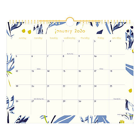 """Cambridge® Lillian Farag Monthly Wall Calendar, 15"""" x 12"""", Water Lilies, January To December 2020, W1326-707"""