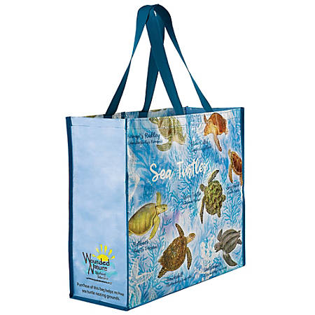 "Amscan Wounded Nature Working Veterans Reusable Plastic Tote Bags, 16-1/2""H x 18-1/2""W x 6""D, Sea Turtles, Pack Of 2 Bags"