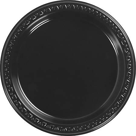 """Huhtamaki Round Heavyweight Plastic Plates, 9"""" Diameter, Black, Pack Of 125"""