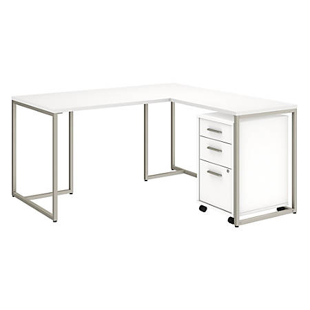 """kathy ireland® Office by Bush Business Furniture Method 60""""W L Shaped Desk with 30""""W Return and Mobile File Cabinet, White, Standard Delivery"""