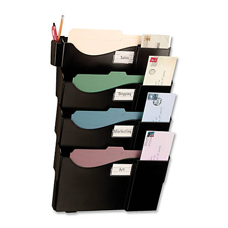 OIC® Grande Central Filing System, 4-Pocket, Black