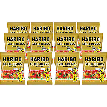 Haribo Gold-Bears Gummi Candy, 0.5 Oz, Assorted Flavors, Carton Of 12 Bags