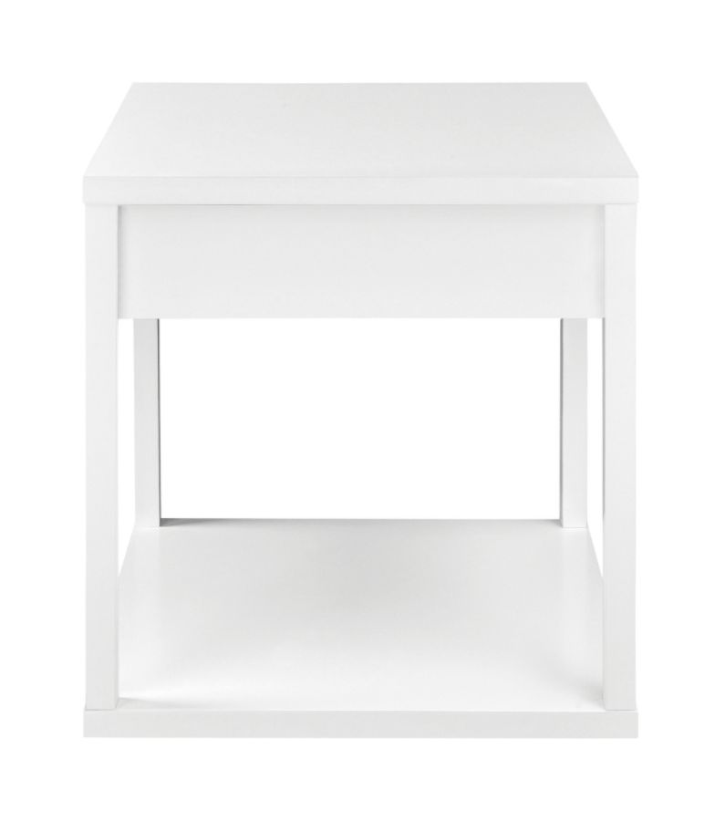 Altra End Table with Drawer Square White by Office Depot OfficeMax