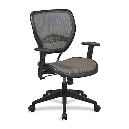 "Office Star™ Matrex Mesh Back Task Chair, 42""H x 27""W x 26 1/2""D, Black Frame, Latte Fabric"